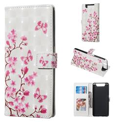 Butterfly Sakura Flower 3D Painted Leather Phone Wallet Case for Samsung Galaxy A80 A90