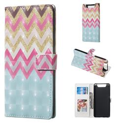 Color Wave 3D Painted Leather Phone Wallet Case for Samsung Galaxy A80 A90