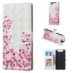 Cherry Blossom 3D Painted Leather Phone Wallet Case for Samsung Galaxy A80 A90