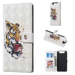 Toothed Tiger 3D Painted Leather Phone Wallet Case for Samsung Galaxy A80 A90