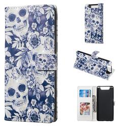 Skull Flower 3D Painted Leather Phone Wallet Case for Samsung Galaxy A80 A90