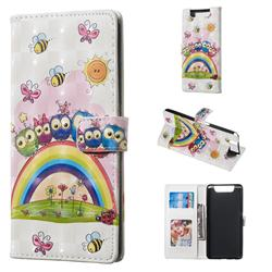 Rainbow Owl Family 3D Painted Leather Phone Wallet Case for Samsung Galaxy A80 A90