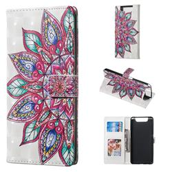Mandara Flower 3D Painted Leather Phone Wallet Case for Samsung Galaxy A80 A90