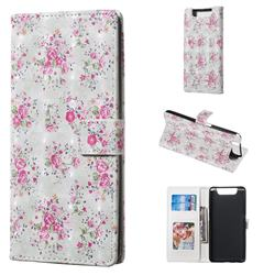 Roses Flower 3D Painted Leather Phone Wallet Case for Samsung Galaxy A80 A90