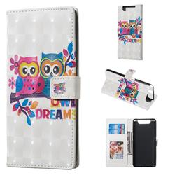 Couple Owl 3D Painted Leather Phone Wallet Case for Samsung Galaxy A80 A90