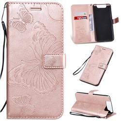 Embossing 3D Butterfly Leather Wallet Case for Samsung Galaxy A80 A90 - Rose Gold