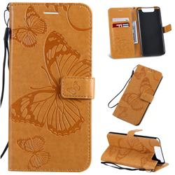 Embossing 3D Butterfly Leather Wallet Case for Samsung Galaxy A80 A90 - Yellow