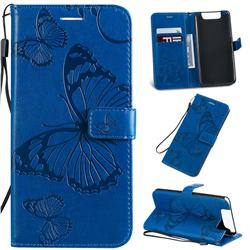 Embossing 3D Butterfly Leather Wallet Case for Samsung Galaxy A80 A90 - Blue