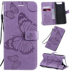 Embossing 3D Butterfly Leather Wallet Case for Samsung Galaxy A80 A90 - Purple