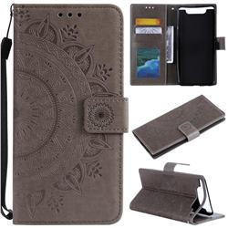 Intricate Embossing Datura Leather Wallet Case for Samsung Galaxy A80 A90 - Gray