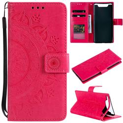 Intricate Embossing Datura Leather Wallet Case for Samsung Galaxy A80 A90 - Rose Red