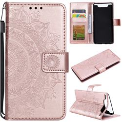Intricate Embossing Datura Leather Wallet Case for Samsung Galaxy A80 A90 - Rose Gold