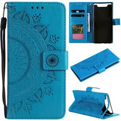 Intricate Embossing Datura Leather Wallet Case for Samsung Galaxy A80 A90 - Blue