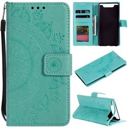 Intricate Embossing Datura Leather Wallet Case for Samsung Galaxy A80 A90 - Mint Green