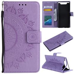 Intricate Embossing Datura Leather Wallet Case for Samsung Galaxy A80 A90 - Purple