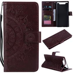 Intricate Embossing Datura Leather Wallet Case for Samsung Galaxy A80 A90 - Brown
