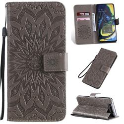 Embossing Sunflower Leather Wallet Case for Samsung Galaxy A80 A90 - Gray