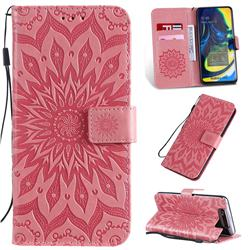 Embossing Sunflower Leather Wallet Case for Samsung Galaxy A80 A90 - Pink