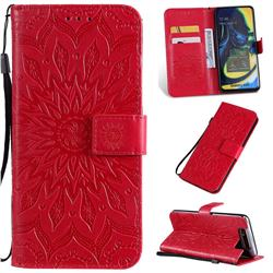 Embossing Sunflower Leather Wallet Case for Samsung Galaxy A80 A90 - Red