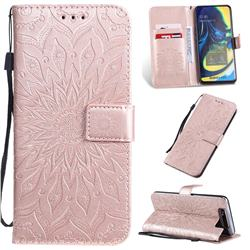 Embossing Sunflower Leather Wallet Case for Samsung Galaxy A80 A90 - Rose Gold