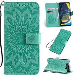 Embossing Sunflower Leather Wallet Case for Samsung Galaxy A80 A90 - Green