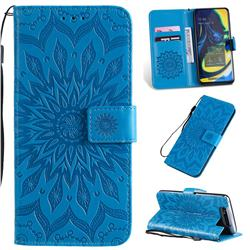 Embossing Sunflower Leather Wallet Case for Samsung Galaxy A80 A90 - Blue