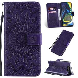 Embossing Sunflower Leather Wallet Case for Samsung Galaxy A80 A90 - Purple