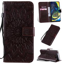 Embossing Sunflower Leather Wallet Case for Samsung Galaxy A80 A90 - Brown