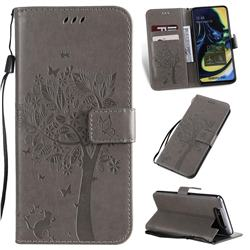 Embossing Butterfly Tree Leather Wallet Case for Samsung Galaxy A80 A90 - Grey