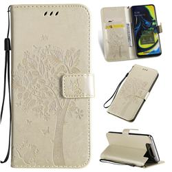 Embossing Butterfly Tree Leather Wallet Case for Samsung Galaxy A80 A90 - Champagne