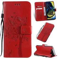 Embossing Butterfly Tree Leather Wallet Case for Samsung Galaxy A80 A90 - Red