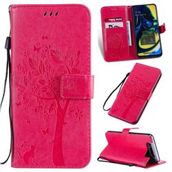 Embossing Butterfly Tree Leather Wallet Case for Samsung Galaxy A80 A90 - Rose
