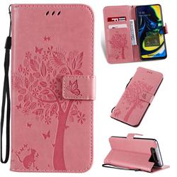 Embossing Butterfly Tree Leather Wallet Case for Samsung Galaxy A80 A90 - Pink