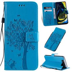 Embossing Butterfly Tree Leather Wallet Case for Samsung Galaxy A80 A90 - Blue