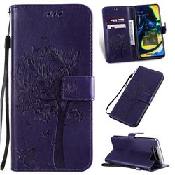 Embossing Butterfly Tree Leather Wallet Case for Samsung Galaxy A80 A90 - Purple