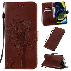 Embossing Butterfly Tree Leather Wallet Case for Samsung Galaxy A80 A90 - Coffee