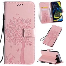 Embossing Butterfly Tree Leather Wallet Case for Samsung Galaxy A80 A90 - Rose Pink