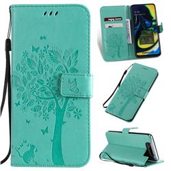 Embossing Butterfly Tree Leather Wallet Case for Samsung Galaxy A80 A90 - Cyan