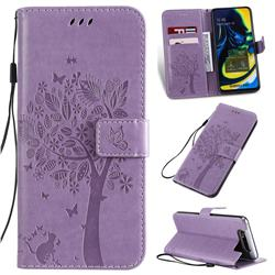 Embossing Butterfly Tree Leather Wallet Case for Samsung Galaxy A80 A90 - Violet