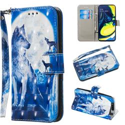 Ice Wolf 3D Painted Leather Wallet Phone Case for Samsung Galaxy A80 A90