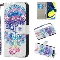Colorful Elephant 3D Painted Leather Wallet Phone Case for Samsung Galaxy A80 A90