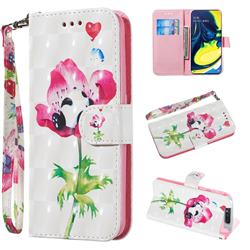 Flower Panda 3D Painted Leather Wallet Phone Case for Samsung Galaxy A80 A90