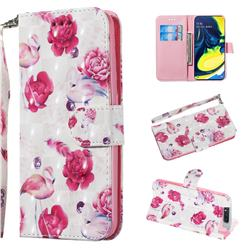 Flamingo 3D Painted Leather Wallet Phone Case for Samsung Galaxy A80 A90
