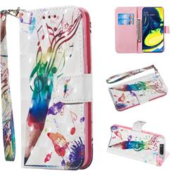 Music Pen 3D Painted Leather Wallet Phone Case for Samsung Galaxy A80 A90