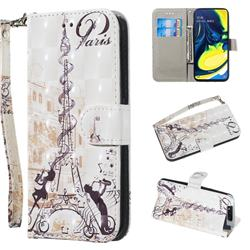 Tower Couple 3D Painted Leather Wallet Phone Case for Samsung Galaxy A80 A90