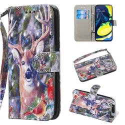 Elk Deer 3D Painted Leather Wallet Phone Case for Samsung Galaxy A80 A90