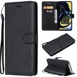 Retro Greek Classic Smooth PU Leather Wallet Phone Case for Samsung Galaxy A80 A90 - Black