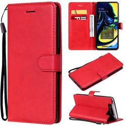 Retro Greek Classic Smooth PU Leather Wallet Phone Case for Samsung Galaxy A80 A90 - Red