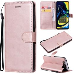Retro Greek Classic Smooth PU Leather Wallet Phone Case for Samsung Galaxy A80 A90 - Rose Gold