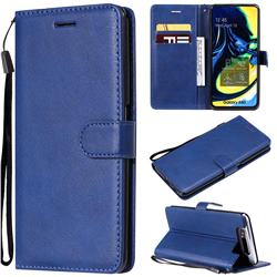Retro Greek Classic Smooth PU Leather Wallet Phone Case for Samsung Galaxy A80 A90 - Blue